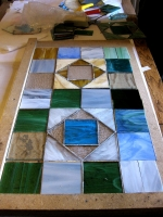 Patchwork copper foil under construction